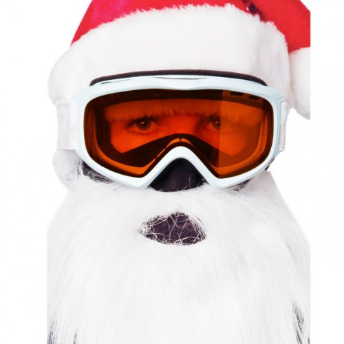 Beardski - Máscara de Papá Noel para esquí, color blanco