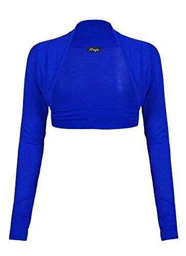 Fast Fashion - Cardigan Haut Manches Longues Plaine De Taille Plus Boléro Haussement - Femmes Bleu Royal