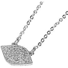 AieniD Plata Esterlina Collar para Mujer Diamante Ojos Cadena Longitud:40+5CM