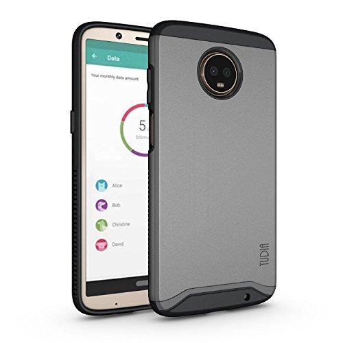 TUDIA Motorola Moto Z3 Play Hülle, Moto Z3 Hülle, Slim-Fit Merge Dual Layer Schutzhülle für Motorola Moto Z3 Play (Metallic Slate)
