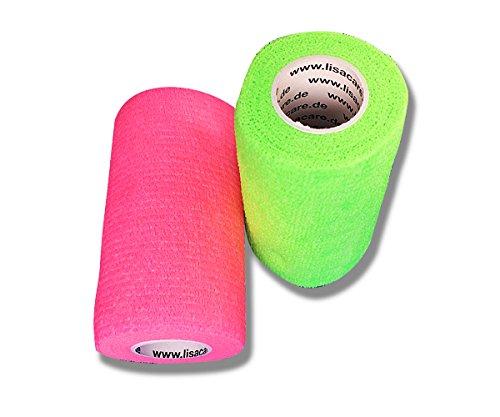 LisaCare Fixierbinde 10cmx4,5m | 2er Set Neongrün & Neonpink | Kohäsive Bandage | Wundverband | Pflasterverband | Tierpflaster | elastisch, dehnbar, selbsthaftend, ohne Kleber