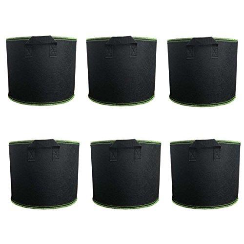 Ancdream Lot de 6 (10 Gallon ) Noir avec Vert Tissu Bassin Récipient Rond Végétale Potted Sac Plantes Grandir Sacs Plantation Pots Pochette Aération
