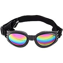 UEETEK Gafas de protección de gafas de protección para mascotas gafas de sol plegables a prueba de viento gafas de lentes gafas de protección con correa ajustable (negro)