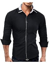 Yvelands Camisas de Lujo Hombres Hermosos Moda Solapa Slim Fit Camiseta de  Manga Larga Top Blusa Camisas de Vestir Trabajo de… 71a886f7e29