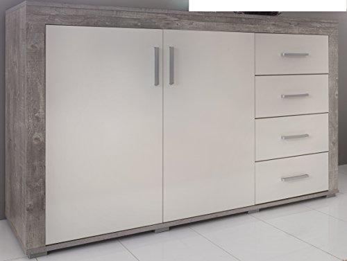 5.5.4.6.2959: Serie AWBW - Sideboard weiss-grau gescheckt dekor - Schubladenkommode weiss-grau gescheckt dekor - Türenkommode - Anrichte