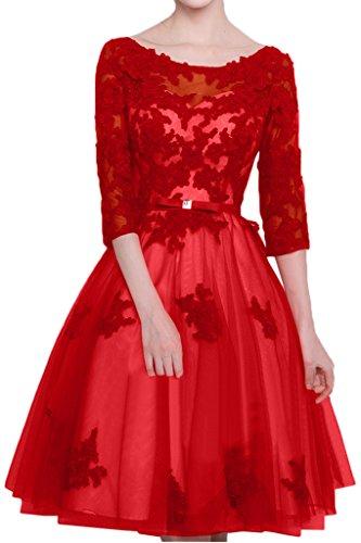 Victory Bridal Festlich Rot Spitze 3/4 Lang aermeln Abendkleider Partykleider Heimkehr Promkleider knie-lang Kurz Dunkel Rot