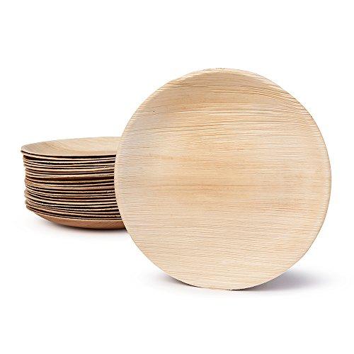 Hochwertiges Palmblattgeschirr von kaufdichgrün I 25 Stück Palmblatt Teller rund Ø 23 cm I Bio Einweggeschirr biologisch abbaubar Partygeschirr Einmalgeschirr Wegwerfgeschirr (100% Bambus-blätter)