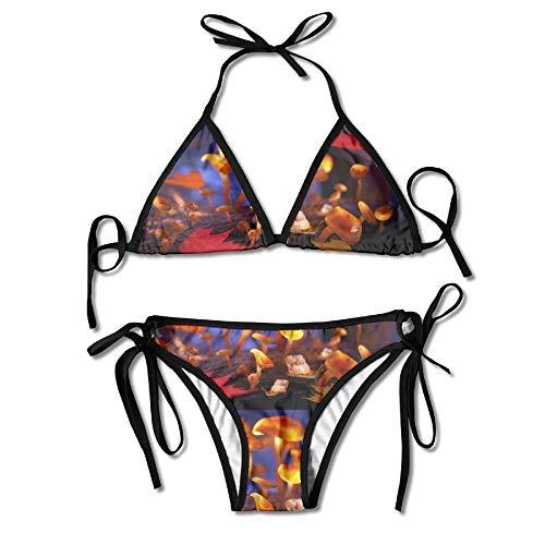 Women Magic Mushrooms 3D Model Printing Sexy Two-Piece Bikini Set Beach Bathing Suit Sexy Magic Mushroom