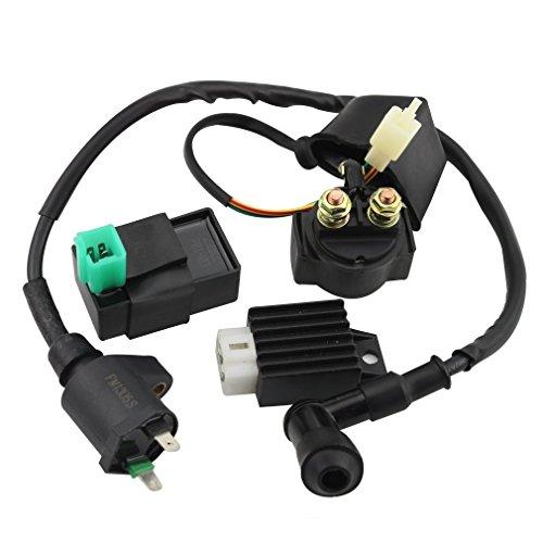 GOOFIT CDI Caja Bobina de encendido del relé solenoide regulador de voltaje para 50cc 70cc 90cc 110cc 125cc ATV Dirt Bike y Go Kart