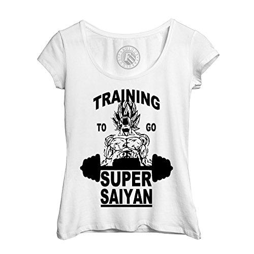 4cd0c4fea T-shirt Femme Col Rond Echancré training to go super sayan dragon ball z dbz