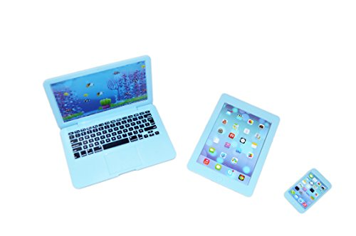 Brittany's My Blue Laptop Media Set for American Girl Dolls Includes Smart Phone and Tablet- 18 inch Doll Accessories