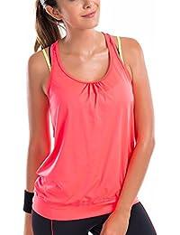 SYROKAN Damen Sport T-shirt Tank Top - Ringerrücken Gym Elastische Fitness