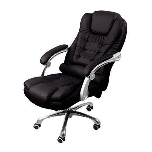 Deckchairs High-Back PU Leder Bürostuhl Computer Schreibtisch Stuhl Executive und ergonomischen Stil Drehstuhl mit Kopfstütze und Lordosenstütze (Rot) (Farbe : SCHWARZ) -