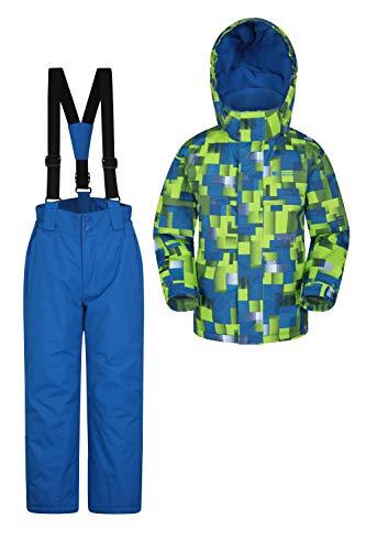 Mountain Warehouse Kinder-Skijacke- und Hosen-Set - Schneesicher, Vordertaschen, Fleece gefüttert, Integrierter Schneefang - ideal für Snowboarden im Winter Limette 98 (2-3 Jahre)