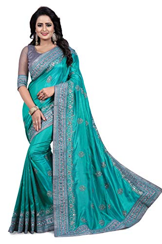 Ananya E Commerce Women \'s Silk saree With Blouse Peice(Green_With Blouse piece)