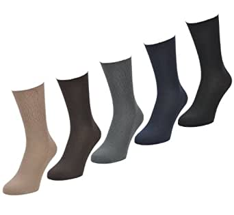 Mens Aler Big Foot - Loose Top - Large Size Socks - Size 11-14 - LIGHT Mixed Colours - 6 Pairs