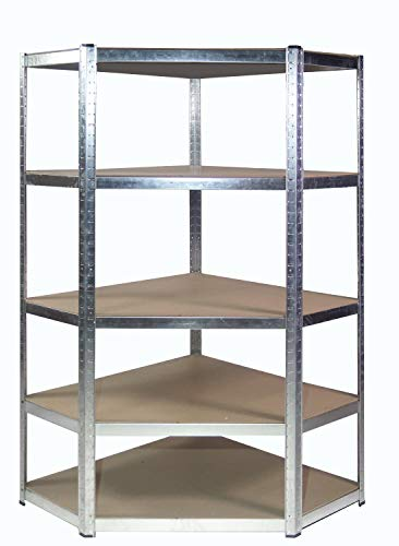Estantería esquinera de acero galvanizado para garaje, 175 kg por estante (5 niveles, 1500 mm de alto x 700 mm/563 mm de ancho x 300 mm de profundidad)