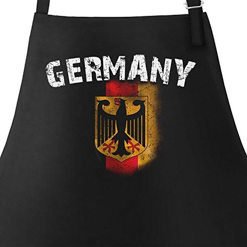 MoonWorks Grill-Schürze für Männer WM Deutschland Flagge Baumwoll-Schürze Küchenschürze Schwarz Unisize (Flagge Schürze)
