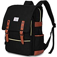 Vintage laptop Backpack for Women Mens, Modoker Slim Travel Backpack with USB Charging Port, Fashion 15.6 Inch Laptop Rucksack Computer Bag/Student Bookbag - Black