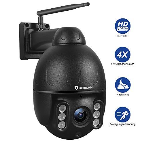 Dericam 1080P Outdoor IP Dome WiFi-Überwachungskamera, 4X Optische PTZ-Kamera, Autofokus, 30m Nachtsicht, Fester Betrachtungswinkel 90 °, Externer SD-Kartensteckplatz, Wetterfest IP65, S2C,Schwarz