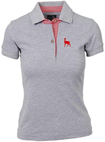 Trachtenpolo-Shirt Damen, Pique-Baumwolle und Elasthan, Polo-Shirt in tannen-grün, mit Hirsch-Stick rosa, alle Größen (M, Grau) -