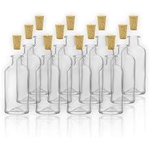 Frascos de farmacia/Botellas de cristal con corcho, 100ml/10cl, 12 botellas vacías de cristal para rellenar/botellas para especias, licores, etc.