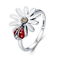 Idea Regalo - gioielli Anelli di Fidanzamento in argento Sterling 925 coccinella girasoli matrimonio Anello per donna regalo di Natale