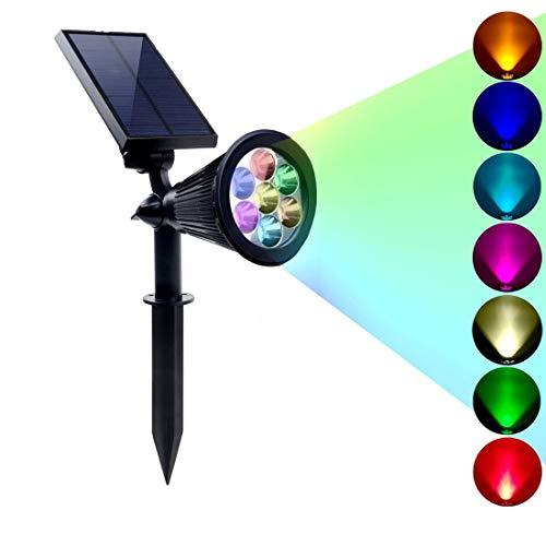 RGB7 LED Solar Strahler Outdoor 2 in 1 Multicolor Wasserdicht Garten Solar Licht Dämmerung bis Morgendämmerung Landschaft Wand Baum Gartenweg Rasen Dekoration Eingang Poolbereich Induktion(7Farben) -