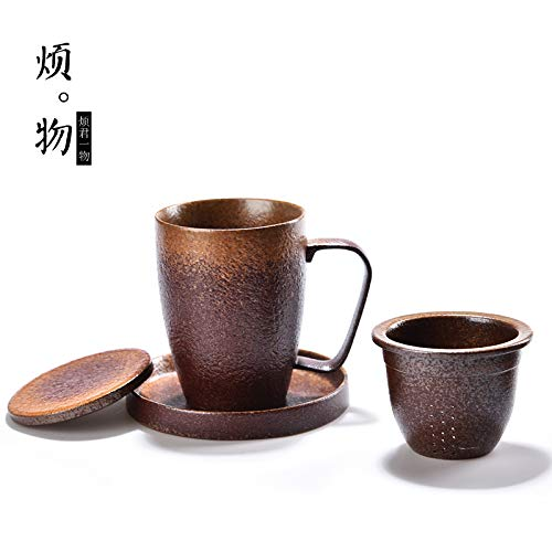 Winpavo Becher Kaffeetassen Tassen Handgemachte Ofenwechsel Keramik Tasse Teetasse Mit Deckel Filter...