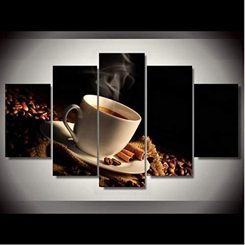 (xzfddn Malerei Abstrakte Kunst Wand 5 Stücke Kaffee Modular Drink Bild Für Wohnzimmer Dekoration Leinwand Poster A 20X35/45/55Cm,No Frame)