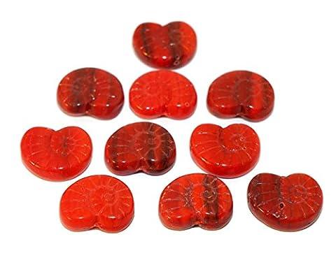 Rot Schwarz Nautilus Tschechische Glas Picasso Perlen Ammonit Perlen Ammonit Fossilen Perle Seashell Perlen Nautilus Muschel Perlen 17mm x 14mm 6pc