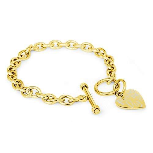 Vergoldet Edelstahl Faith (Glauben) Love (Liebe) Hope (Hoffnung) Gravierte Herz Charme, Armband Nur