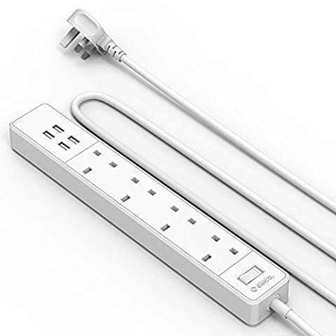 ORICO 13A 4 Way Extension Lead with 4 USB Ports,
