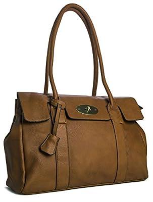 Big Handbag Shop Womens Vegan Leather Top Handle Designer Boutique Tote Shoulder Bag - Large