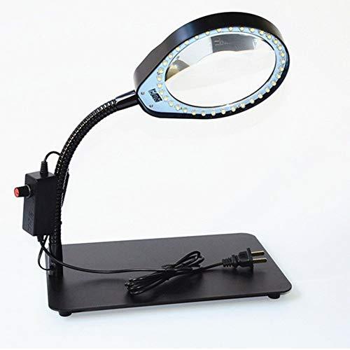 Linana Tischlupe mit 36   weißen LED-Licht 10X HD Objektiv aufladbare Arbeitstischlampe Lupe für Schmuckmarken Identifikation Reparatur Gravur Lesen Stickerei