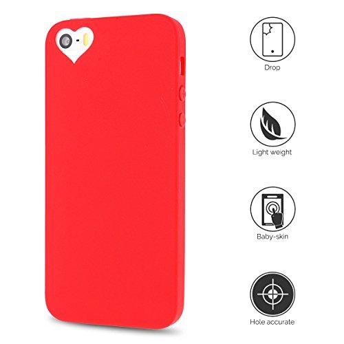 Coque iPhone 5S , Coque iPhone SE , Anfire Etui Souple Flexible en Premium TPU Apple iPhone SE / 5S / 5 Ultra Mince Gel Silicone Transparent Clair Housse de Protection Soft Crystal Case Cas Couverture Rouge