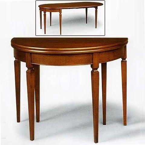 Mesa consola Madera de Nogal, tocador cm 110x 55con 2de extensiones de madera, fabricado en