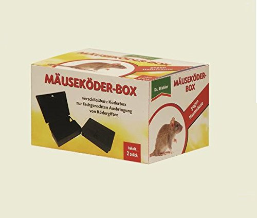 Dr. Stähler Ratzia Mäuseköder-Box schwarz 2er Pack - abschließbar mit Schlüssel