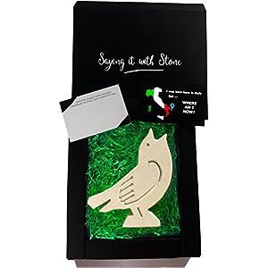 Handgemacht in Italien - Singvogel aus Stein - Elegante Geschenkbox und Nachrichtenkarte/Message Card in Englisch Inbegriffen - Altes und schönes italienisches Kalkstein mit Fragmenten aus Fossil - Symbol der Hoffnung, Glück, helle Zukunft, Ändern des Glücks und der neuen Anfänge - Vogel Liebhaber - einzigartiges Geschenk - Geschenke für ärztin ältere dame männer frau beste freundin baby junge bruder 30 40 70 geburtstag mann 6 9 jahre mädchen junge gaaf Einzigartig Jubiläum Tierarzt Vogel