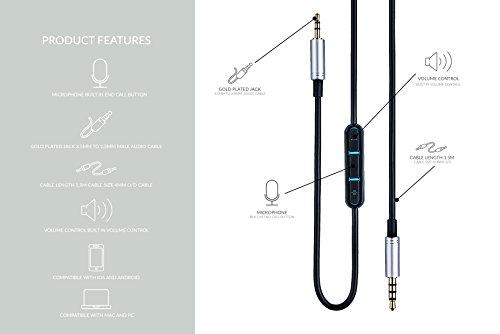 1,5m Ersatz Kopfhörer Audio Kabel für AKG y45bt Y50Y40Y55K490NC K545mit Fernbedienung Lautstärkeregler und Mikrofon für iPhone iPod iPad–vergoldet (Ipod Gen Shuffle 1)