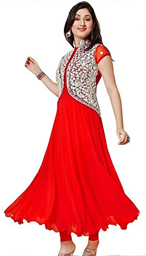 Lara Fashion Women\'s Georgette Western Long Kurti Size : XL (Red Color)