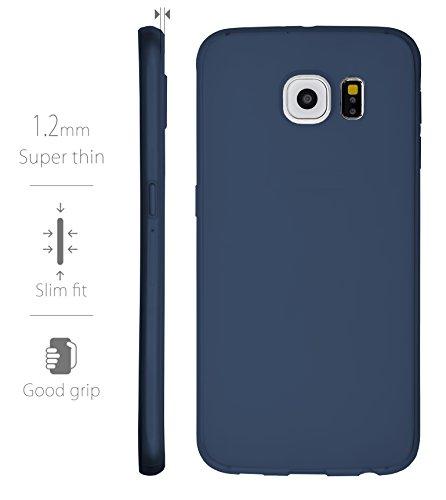 MyGadget PC Plastik Hülle für - Samsung Galaxy S6 Duos - ultra dünn & leicht (0,8 mm / 6 gr.) harter Bumper Schutzhülle Cover Case Anti Kratz Schutz in Schwarz TPU Blau