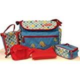 Fisher-Price Logan Mother Bag 5 Pcs Set, Baby Diaper Bag With Insulated Twin Bottle Cover, Tiffin Bag, Toy Pouch & Changing Mat_Blue