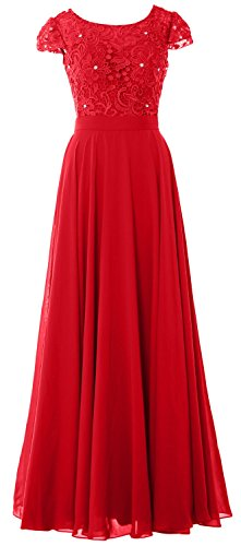 MACloth Women Cap Sleeve Mother of Bride Dress Vintage Lace Evening Formal Gown red