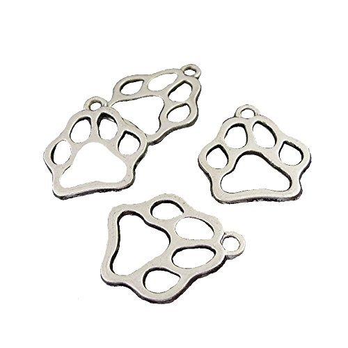 JulieWang - Colgante de huella de perro o gato original de color plata envejecida, 50 unidades de 17 x 17 mm