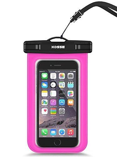 "Bolsa Impermeable Móvil Universal, Kosse IPX8 Bolsa Estanca para iPhone 7/6S, 7/6S Plus, SE, Galaxy S7/S6/J7/J5/J3, Huawei P20/P9/P8 Lite, Xiaomi A1/Redmi Note 5/5 Plus Hasta 6,0"" Diagonal -Magenta"
