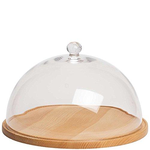 BUTLERS Canopy Käseglocke mit Schneidebrett - Glas, Buchenholz - Ø 32 cm