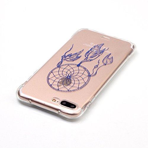 iPhone 7 Plus Coque,iPhone 7 Plus Gel Motif métallique TPU Case Feeltech Apple iPhone SE Case Silicone Clair Ultra Mince Premium Bumper iPhone 5S Housse Légère Étui Protecteur Transparente Souple Conc Bleu Attrapeur de rêves