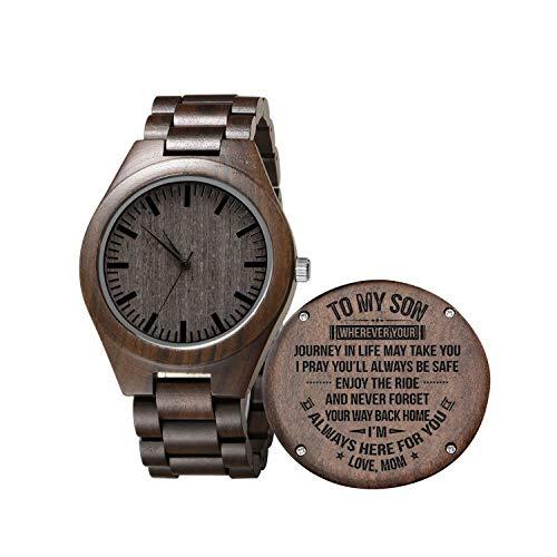 Gravierte hölzerne Uhr für Sohn und Freund, personalisierte hölzerne Uhr Geschenk für Freund, Abitur Geschenk von Mama, von Papa (for Son from Mom) (Mom Uhr)