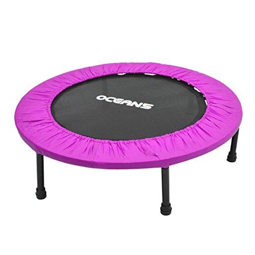 Ocean5 Easy Jump 100 Fitness-Trampolin mit Randabdeckung, Minitrampolin 82 cm Ø, Gesundheitstrampolin bis 120 kg belastbar, Farbe: lila